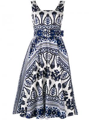 Расклешенное платье с принтом Samantha Sung. Цвет: синий