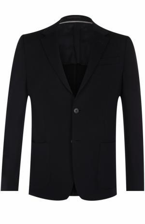 Шерстяной однобортный пиджак Z Zegna. Цвет: темно-синий