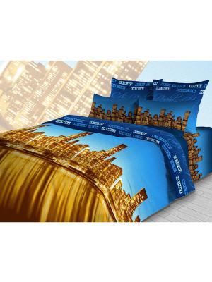 Комплект постельного белья из бязи Евро Василиса. Цвет: синий, желтый, черный