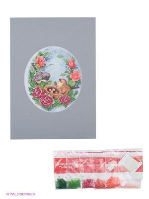 Наборы для вышивания с бисером и паспарту Птички Матренин Посад. Цвет: белый, серый, розовый