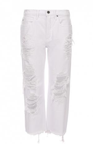 Укороченные джинсы прямого кроя с потертостями Denim X Alexander Wang. Цвет: белый