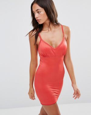 Smooothees Моделирующее платье-комбинация с бретельками. Цвет: красный