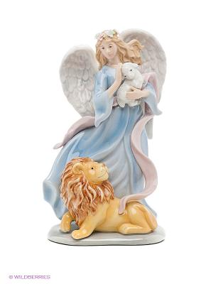 Музыкальная статуэтка Ангел и лев Pavone. Цвет: голубой, желтый