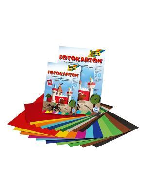 Набор цветного картона FOLIA. Цвет: синий, зеленый, коричневый, голубой, красный, желтый, черный