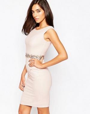 Little Black Dress Платье с декорированной талией Cameron. Цвет: розовый