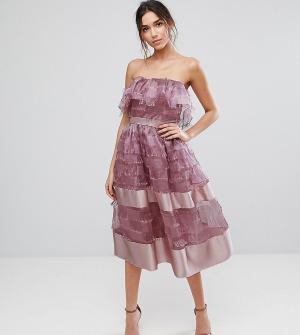 True Violet Фактурное платье миди с оборкой и отделкой по краю. Цвет: фиолетовый
