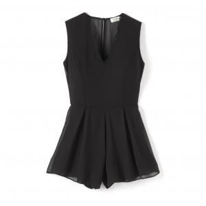 Комбинезон с шортами кружевной MOLLY BRACKEN. Цвет: черный