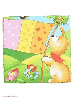 Комплект постельного белья Василек. Цвет: зеленый, оранжевый