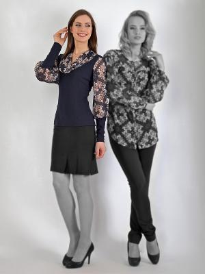 Блузка, Lissa. Цвет: темно-синий, коричневый