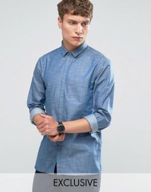 Noak Джинсовая рубашка со скрытой планкой и прямой нижней кромкой. Цвет: темно-синий