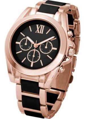 Роскошные наручные часы-хронограф (черный/золотистый) bonprix. Цвет: черный/золотистый