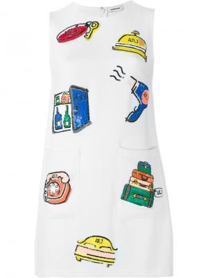 Платье шифт с пайетками Au Jour Le. Цвет: белый