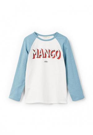 Лонгслив Mango Kids. Цвет: белый