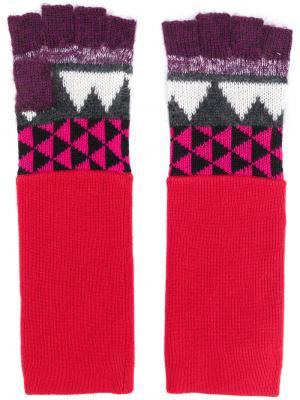 Перчатки с геометрическим принтом Burberry. Цвет: красный