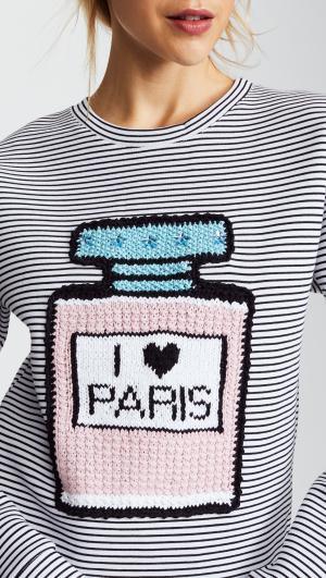 I Love Paris Perfume Bottle Striped Sweatshirt Michaela Buerger