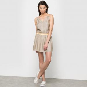 Платье с тонкими бретелями COLOR BLOCK. Цвет: черный