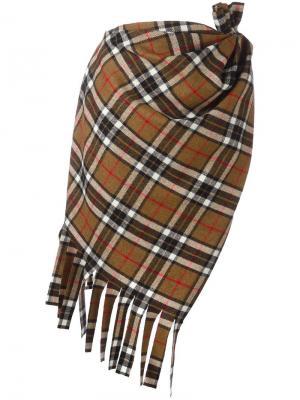 Асимметричная юбка в клетку Jacquemus. Цвет: коричневый