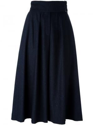 Широкие укороченные брюки со складками Cacharel. Цвет: синий