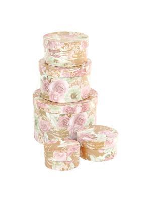 Коробка картонная, набор из 5 шт. 9*9*5-19*19*13 см. Эльфийский сад VELD-CO. Цвет: светло-оранжевый, персиковый, розовый