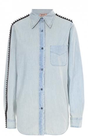 Джинсовая блуза с накладным карманом и декоративной отделкой No. 21. Цвет: синий