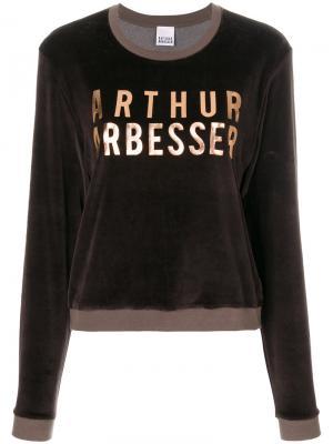 Толстовка с принтом логотипа Arthur Arbesser. Цвет: коричневый