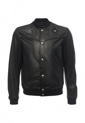 Куртка кожаная Just Cavalli. Цвет: черный
