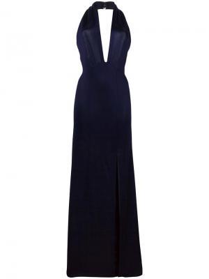 Вечернее платье Flyover Keyhole Galvan. Цвет: синий