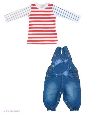 Комплект (джинсовый комбинезон+джемер) Bubble kids. Цвет: красный, синий