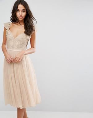 Needle & Thread Платье миди из тюля с рукавами рюшами Swan. Цвет: розовый