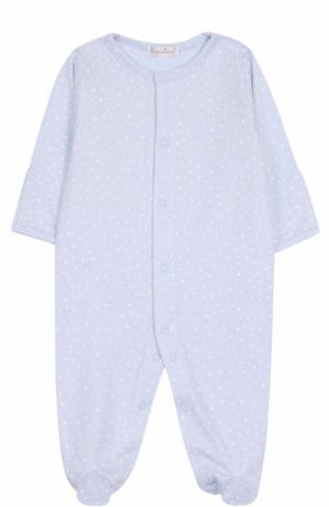 Хлопковая пижама с принтом Kissy. Цвет: голубой