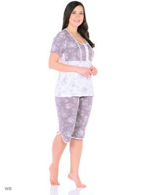 Домашний костюм (бриджи, футболка) HomeLike. Цвет: сиреневый, белый