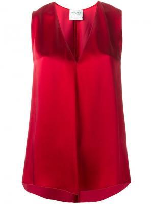 Блузка с V-образным вырезом Forte. Цвет: красный