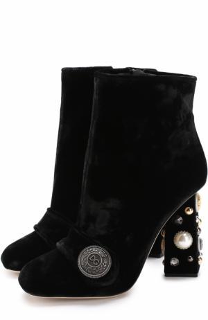 Бархатные ботильоны Jackie на декорированном каблуке Dolce & Gabbana. Цвет: черный