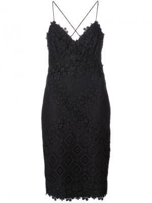 Платье мини с вышитыми крючком Nicole Miller. Цвет: чёрный