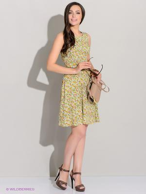 Платье Stets. Цвет: зеленый, оранжевый, желтый, белый, черный