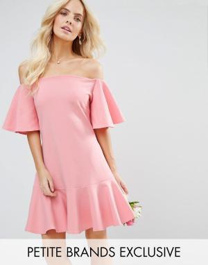 John Zack Petite Платье мини с расклешенными рукавами. Цвет: розовый