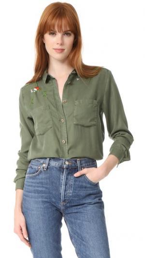 Рубашка на пуговицах с цветочной вышивкой The Kooples. Цвет: хаки