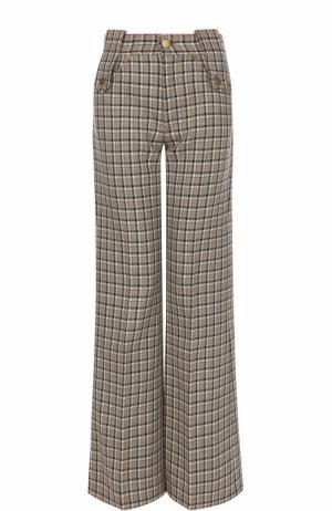 Шерстяные расклешенные брюки в клетку Marc Jacobs. Цвет: бежевый