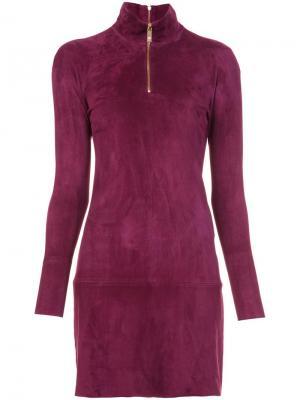 Платье с горловиной на молнии Jitrois. Цвет: розовый и фиолетовый