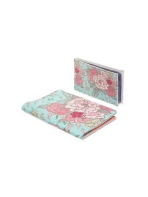 Комплект Розы Тиффани (Обложка на паспорт с кожанной вставкой+визитница) Eshemoda. Цвет: розовый
