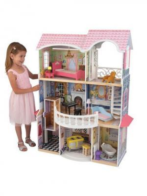 Винтажный кукольный дом Магноли KidKraft. Цвет: серый, розовый