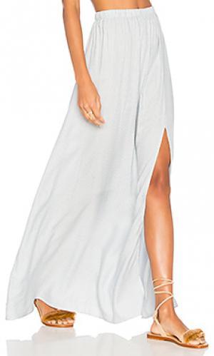 Полосатая юбка из твила с разрезом jen Clayton. Цвет: белый