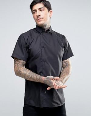 Rogues of London Рубашка скинни с короткими рукавами и смещенной от центра планкой на п. Цвет: черный
