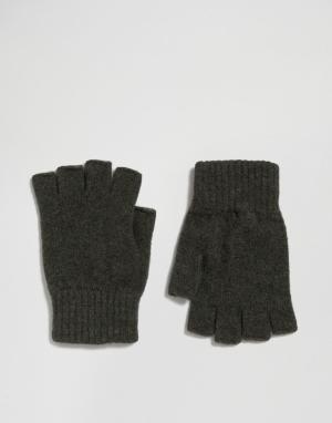 Glen Lossie Перчатки без пальцев из овечьей шерсти цвета хаки. Цвет: зеленый