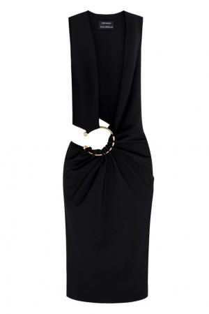 Шерстяное платье Anthony Vaccarello. Цвет: черный