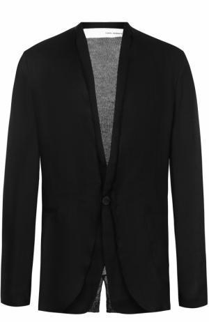 Льняной однобортный пиджак Isabel Benenato. Цвет: черный