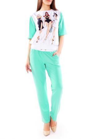 Костюм: джемпер, брюки Majaly. Цвет: ментоловый, белый