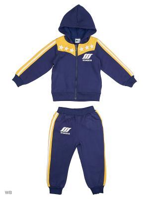 Толстовка с капюшоном и брюки Sago Kids i Ant Domain. Цвет: желтый, синий