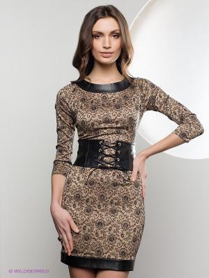 Платье SUGARLIFE. Цвет: бежевый, черный