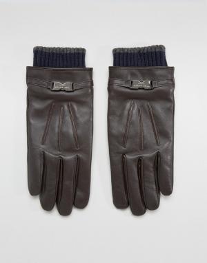 Ted Baker Кожаные перчатки Quiff. Цвет: коричневый